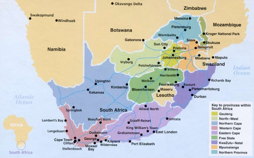 Südafrika Karte Sehenswürdigkeiten.Süd Afrika